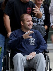 Firefighter Brad Speakman, the city firefighter injured in a Canby Park deadly blaze, was wheeled out of Crozer-Chester Medical Center in Upland, Pennsylvania.