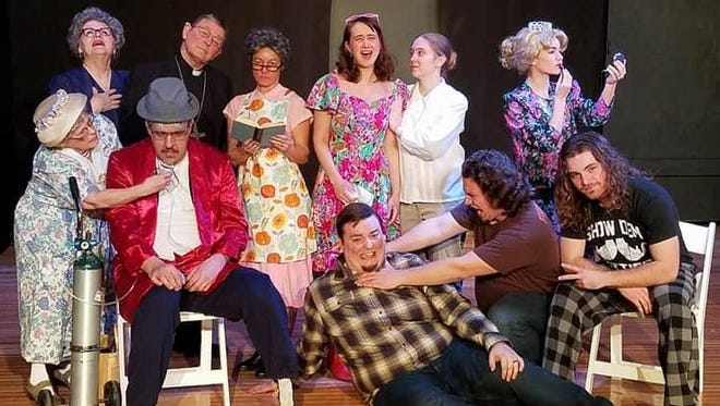 """The cast for """"Dearly Departed"""" includes: (first row, from left) Andi Davis, Craig Perry, Mike Horberg, Joe Shipman, Bryce Sumrall, (second row) Deb Smith, Clark Middleton, Nikki Schlote, Oilvia Wolfe, Kami Roberts and Marcella Schlote."""