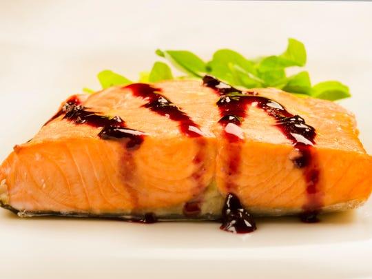 Salmon with Blueberry Teriyaki Sauce