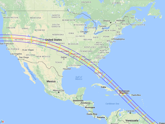 The path of the 2045 solar eclipse.