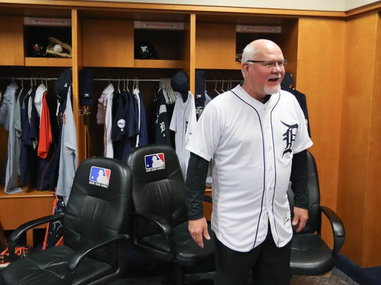 Tigers manager Ron Gardenhire takes pictures with fans in the visitors' clubhouse during TigerFest at Comerica Park on Saturday, Jan. 27, 2018.