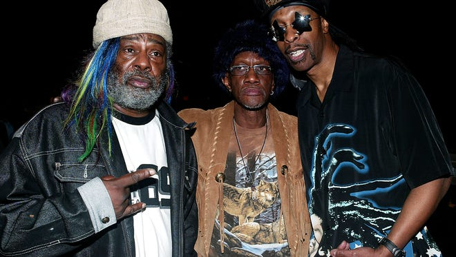 George Clinton, keyboardist Bernie Worrell  and  Bootsy Collins of Parliament Funkadelic pose during rehearsals for their performance at the 46th Annual Grammy Awards at a studio on February 5, 2004 in Los Angeles, California.