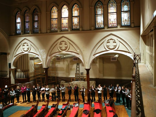The YP Choral Collective rehearsing at First Lutheran Church, Over-the-Rhine.
