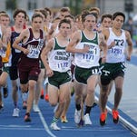 Runners in the boy's 3200. South Oldham's Cole Dowdy (1171) is up front. May 23, 2015