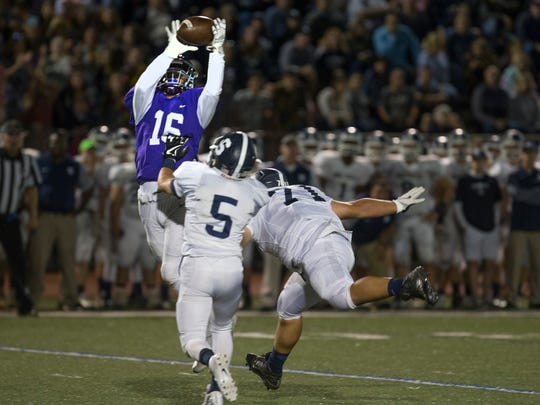 Rumson's Michael Lizotte intercepts a Middletown South pass and takes it in for Rumson's second touchdown. Rumson-Fair Haven Football vs Middletown South on September 28, 2017