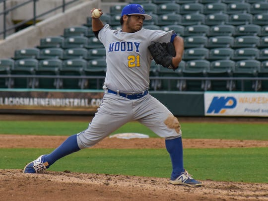 Moody's Ramsey Flores pitches in the fourth inning against Ray on March, 04, 2017 at Whataburger Field.