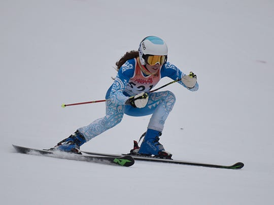 Marian's Paige Weymouth finished among the top 10 in both the slalom and GS events at Wednesday's regional meet.