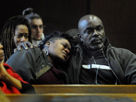 Victor Butler, father of homicide victim Sarah Butler, comforts her mother, Lavern, at the court appearance of Khalil Wheeler-Weaver, who is charged in the death of Sarah Butler, 20, of Montclair. He appeared before Judge Ronald Wigler in Essex County Superior Court, Newark, NJ on Tuesday, December 13, 2016.