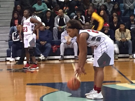 North Caddo's Destiny Rice prepares for a dribble drive