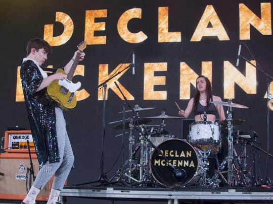 Declan McKenna perform on the Mojave tent at the 2018 Coachella Valley Music and Arts Festival's first weekend of the two weekend music festival held in Indio. Friday April 14, 2018.