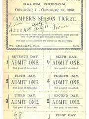 """This is an example of a """"Camper's Season Ticket"""" in the early days of the Oregon State Fair."""