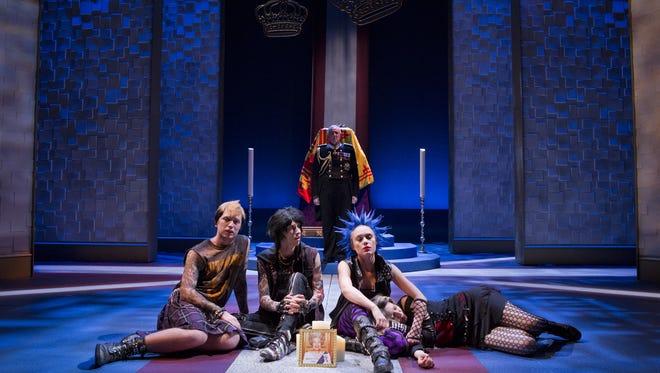 "Jesse Boone, Aubrey King, Peter Van Norden, Ali Wood Moser, and Cera Naccarato in Arizona Theatre Company's ""King Charles III."""