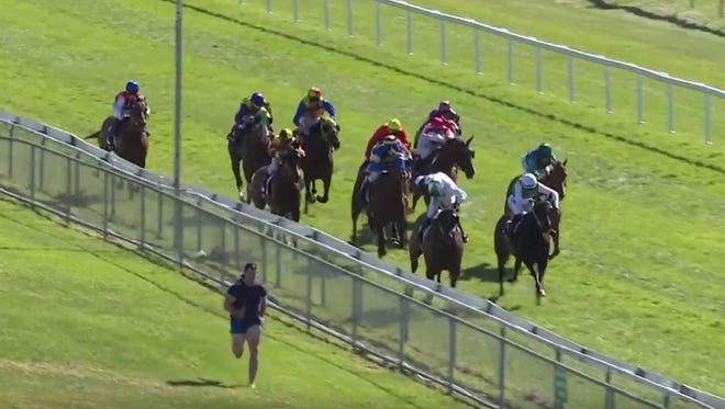 A man in Australia tried racing some horses and injured himself.