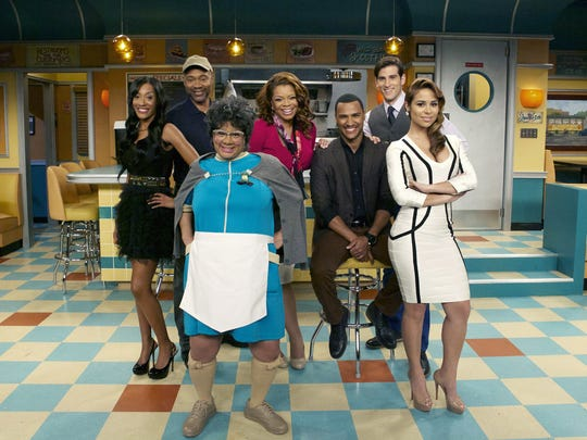 """""""Love Thy Neighbor"""" (from left)  cast includes Darmirra Brunson, Palmer Williams, Patrice Lovely, Kendra C. Johnson, Hall, Jonathan Chase and Zulay Henao."""