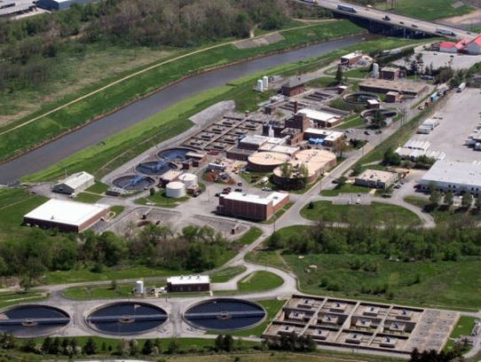 An aerial view of the York City Wastewater Treatment Plant on Black Bridge Road in Manchester Township.