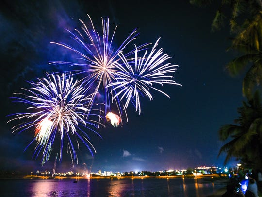 Fireworks light up the skies over the Paseo in celebration of the kick-off of the 73rd Guam Liberation Day Carnival on Wednesday, July 12, 2017.