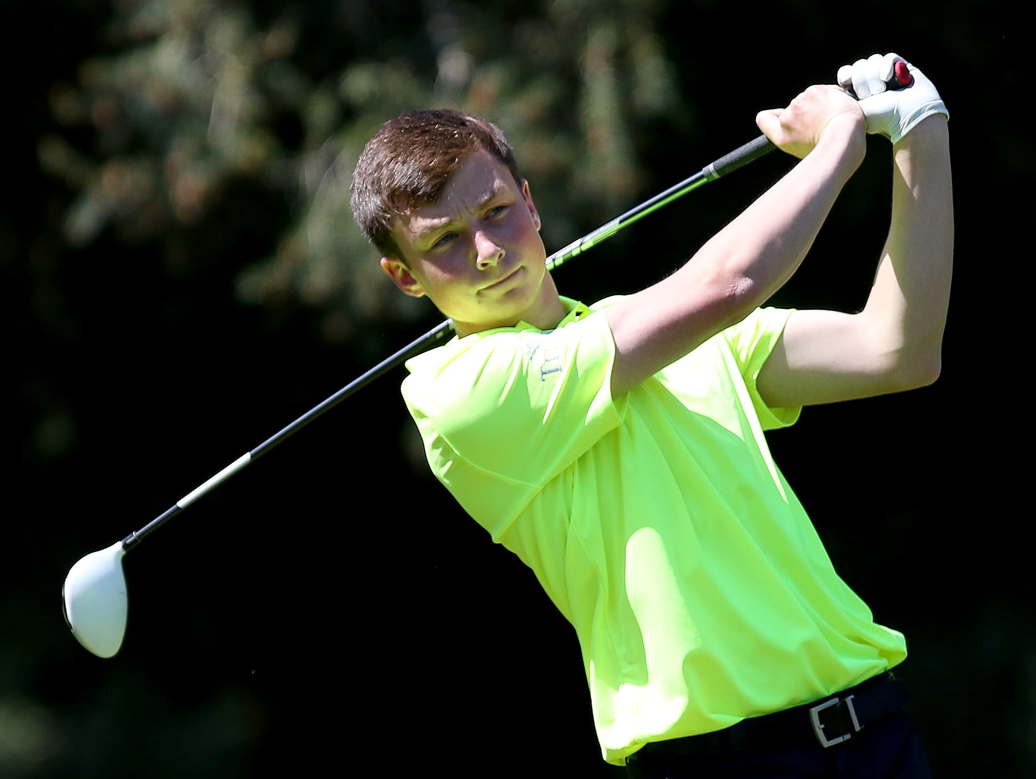 West Salem's Andrew Eyre competes in a Greater Valley Conference boy's golf match at the McNary Golf Club in Keizer on Monday, April 18, 2016.