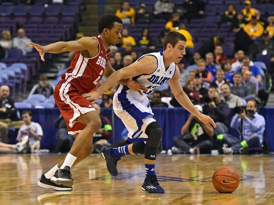 Drake point guard Reed Timmer was introduced to analytics