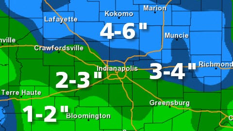 Snow totals for Jan. 18, 2014, in central Indiana.