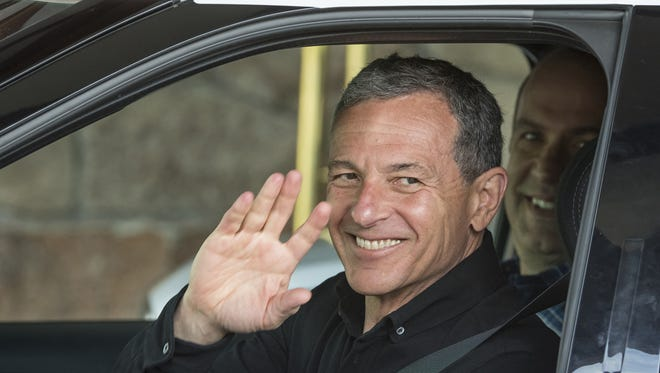 Bob Iger, chief executive officer of Walt Disney Co., arrives for the Allen & Co. Media and Technology Conference in Sun Valley, Idaho, on July 5. The company has hired an investment bank to advise on a possible Twitter merger, Bloomberg News reported Monday.
