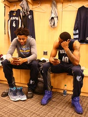 Former Spartan Deyonta Davis, left, and Memphis Grizzlies teammate Troy Williams get ready in the locker room before a game against the New York Knicks earlier this season. Davis, who left MSU after one season, has quickly become a favorite of teammates.