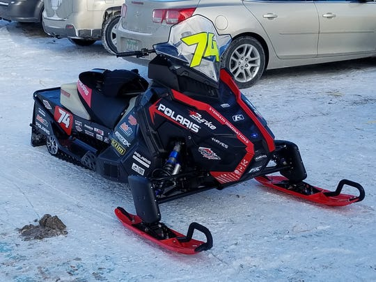 Snowmobile of Gabe Bunke, seven-time winner of the