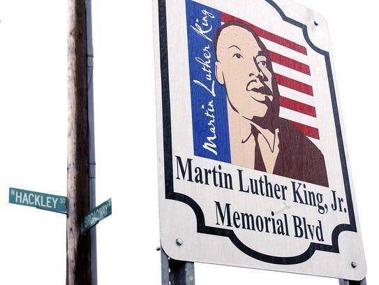 A sign denoting Martin Luther King Memorial Blvd at