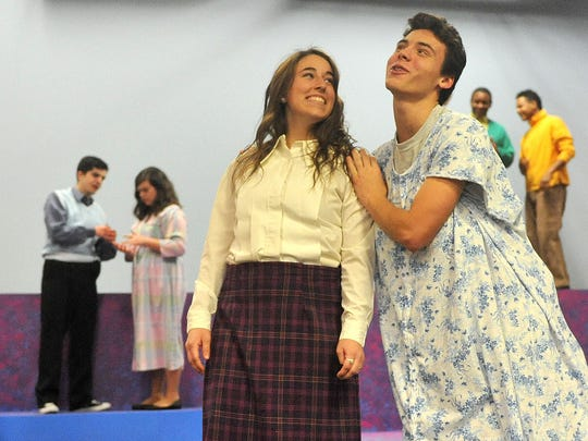 (left to right) Megan Sheperd and Tucker Boggs rehearse for Hairspray Jr. Tuesday night at Founders Auditorium.