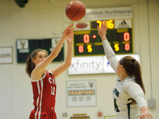 CVU's Harper Mead (12) shoots the ball during the Vermont
