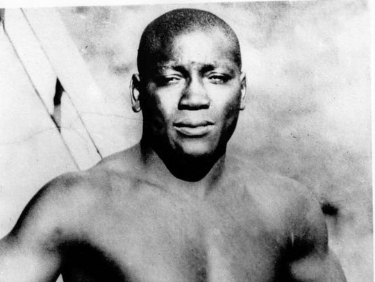 This undated file shows boxer Jack Johnson, who was