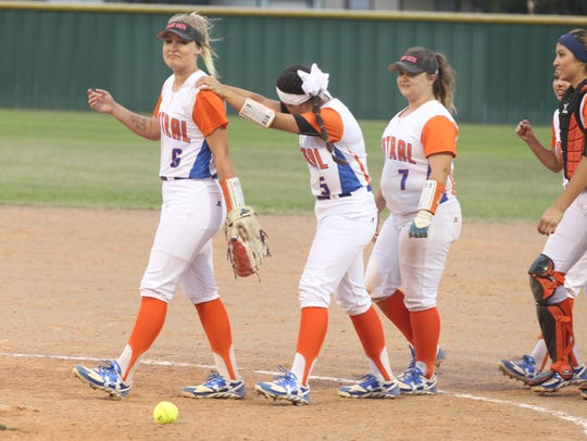 San Angelo Central seniors (from left to right) Sydnie Gilber, Kayla Subia and Maddie Stewart are among six seniors on the Lady Cats' softball team that will be graduating.