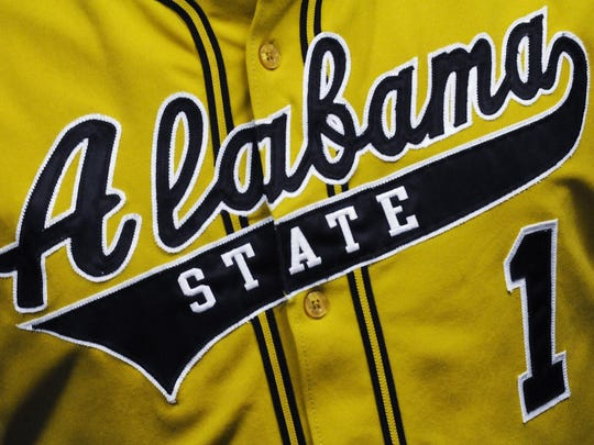 New Alabama State University head baseball coach Mervyl Melendez wears a team jersey during a news conference at the university campus in Montgomery, Ala. on Tuesday June 21, 2011.(Montgomery Advertiser, Mickey Welsh)