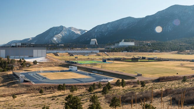 The Air Force Academy Chapel overlooks the campus, which includes a large collection of athletic fields in Colorado Springs, Colorado