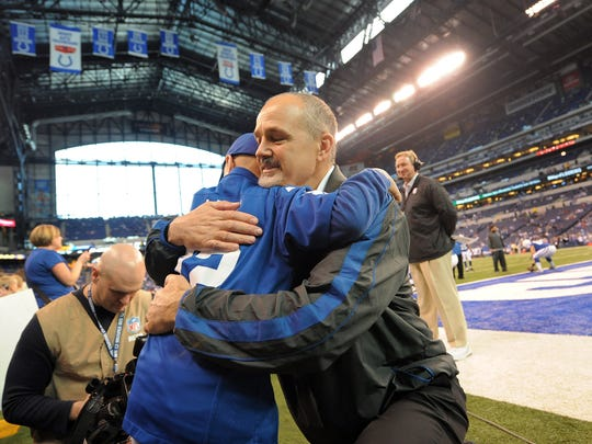 Chuck Pagano hugs leukemia patient Austin Miller before the game a game in December 2012 at Lucas Oil Stadium.