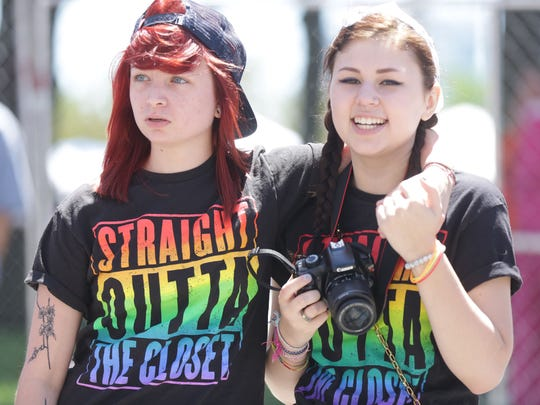 Girlfriends Sam Martel, 20, of Dearborn, left, and