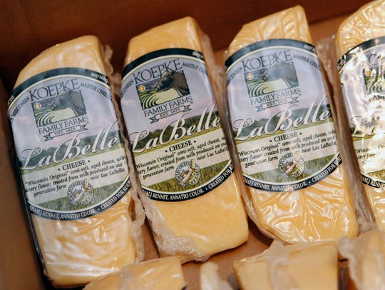 Wedges of LaBelle cheese are ready for purchase. LaBelle