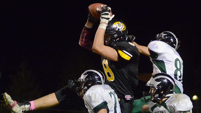 Lenox's Spencer Brown (8) leaps to make a catch for a two-point conversion during a victory against East Mills.