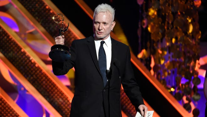 """Anthony Geary accepts the award for outstanding lead actor in a drama series for """"General Hospital,"""" at the 42nd annual Daytime Emmy Awards in Burbank, California on April 26, 2015."""