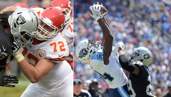 Kansas City Chiefs offensive tackle and Central Michigan product Eric Fisher (72). Tennessee Titans receiver and Western Michigan product Corey Davis (84).