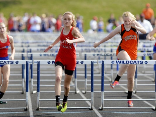 Dover's Peyton Mulder won her preliminary 100-meter hurdles heat in the YAIAA Track and Field Championships, May 8 at Dallastown.