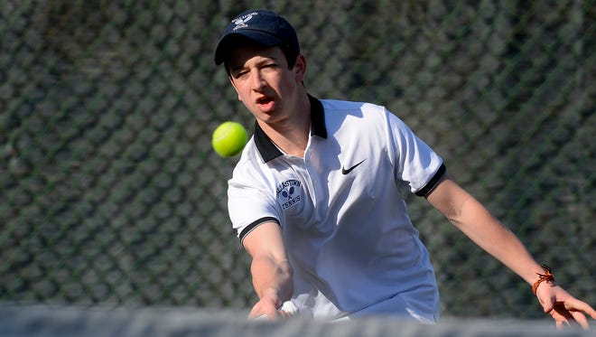 Jonathan Burns, seen here in a file photo, is a key member of Dallastown's unbeaten boys' tennis team.