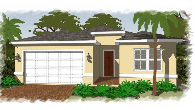 An artist's conception of the Fiesta, a new home under construction at Arrowhead Reserve, a community of single-family homes off Lake Trafford Road in Immokalee.