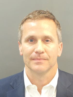 Missouri Gov. Eric Greitens' booking photo. He was released on a personal recognizance bond.