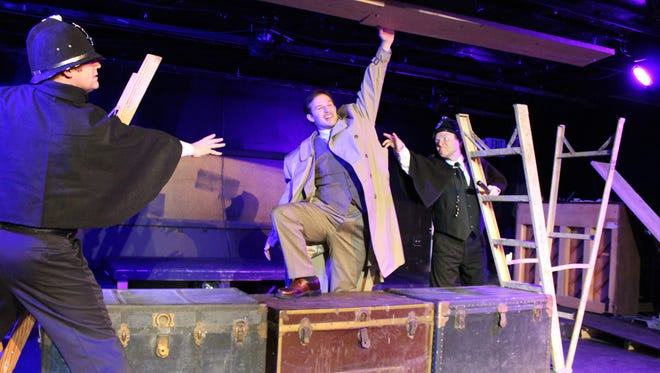 "Jamie Young, David Huntsman and Kelly Olsen star in Brigham's Playhouse's production of ""The 39 Steps."""
