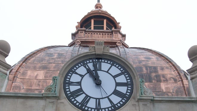 In this photo from March 5, 2018, discolored copper is evident on the south side of the Brown County Courthouse less than six months after the dome was refurbished.