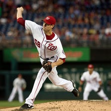 Sep 8, 2014; Washington, DC, USA;  Washington Nationals starting pitcher Doug Fister (58) pitches during the second inning against the Atlanta Braves at Nationals Park. Mandatory Credit: Tommy Gilligan-USA TODAY Sports