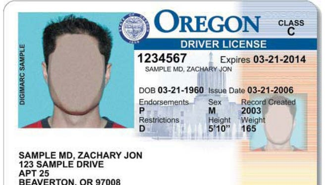 Sample Oregon Driver's License.