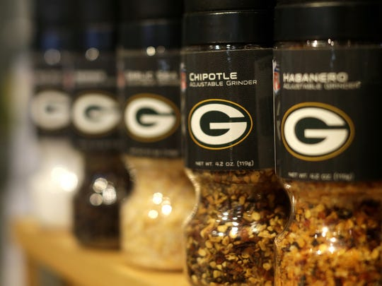 Merchandise at the Packers Pro Shop includes an assortment of cooking supplies such as different types of seasoning grinders. Sarah Kloepping/USA TODAY NETWORK-Wisconsin
