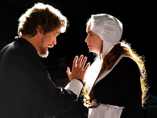 Rhett Pennell as John Proctor, and Katie McCall as Abigail Williams. Arthur Miller's The Crucible, the Tony Award winning drama about the Salem witchcraft trials, will be performed at Surfside Playhouse in Cocoa Beach January 11-27.