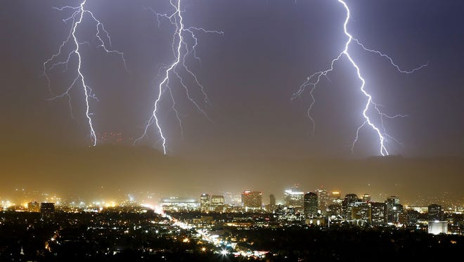 This storm blew over Chase Field Tuesday night, Aug. 11, 2015, in Phoenix.